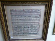 ELIZABETH TOD, HER 18th C. SAMPLER WORKED WITH THE ALPHABET AND NUMBERS ABOVE ANIMALS, TREES AND A