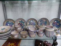 A COLLECTION OF CARTER, STABLER ADAMS POOLE POTTERY TEAWARES, EGG CUPS ETC
