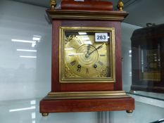 A BRACKET CLOCK WITH MOVEMENT SIGNED MEDAILLE DE BRONZE AND ASSOCIATED WALL BRACKET
