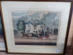 """TWO ANTIQUE COLOURED PRINTS AFTER J POLLARD """"MAIL BEHIND TIME"""" AND """"THE FOUR IN HAND CLUB, HYDE"""
