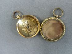 A ANTIQUE 18ct CONTINENTAL FOB WATCH, TOGETHER WITH A HEART CASE. PLEASE NOTE THE FOB WATCH IS