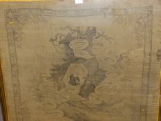 AN ANTIQUE SILK PANEL PRINTED IN BLACK WITH DETAILS FROM ISAAC WALTONS ANGLERS COMPANION WITHIN A
