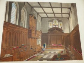 AFTER A PUGIN. A GROUP OF ANTIQUE HAND COLOURED PRINTS OF INTERIOR SCENES. TOGETHER WITH OTHERS BY