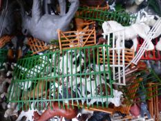 A QUANTITY OF BRITIANS LTD AND OTHER TOY ZOO AND FARM ANIMALS FENCES ETC