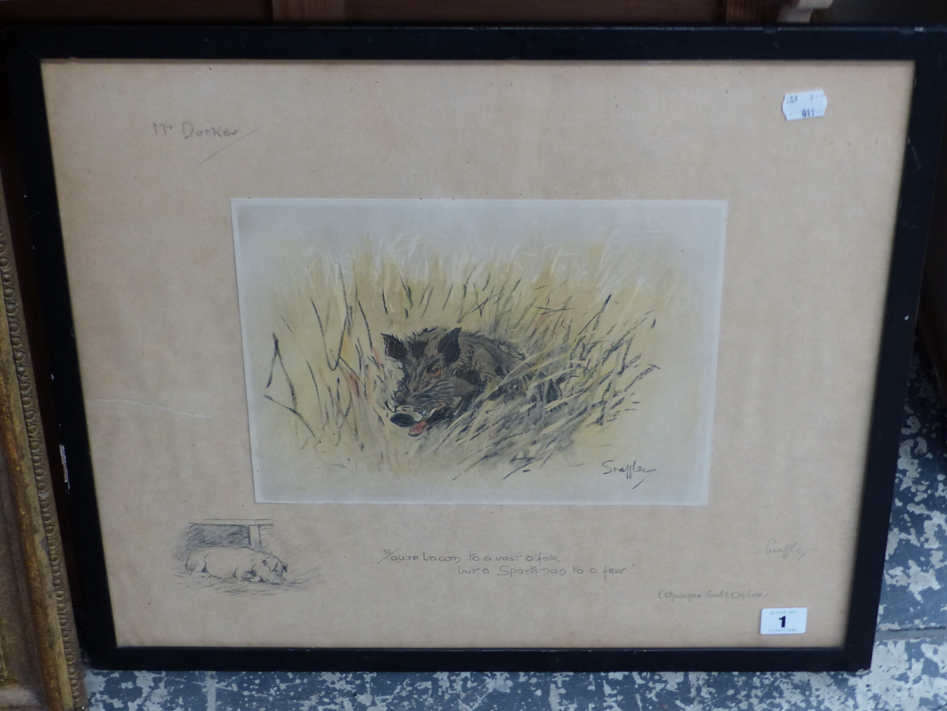 SNAFFLES, CHARLES JOHNSON PAYNE (1884-1967) A PENCIL SIGNED COLOUR PRINT OF A WILD BOAR. 43 x 51cms - Image 3 of 7