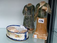 A PAIR OF ORIENTAL POTTERY GLAZED FIGURES.