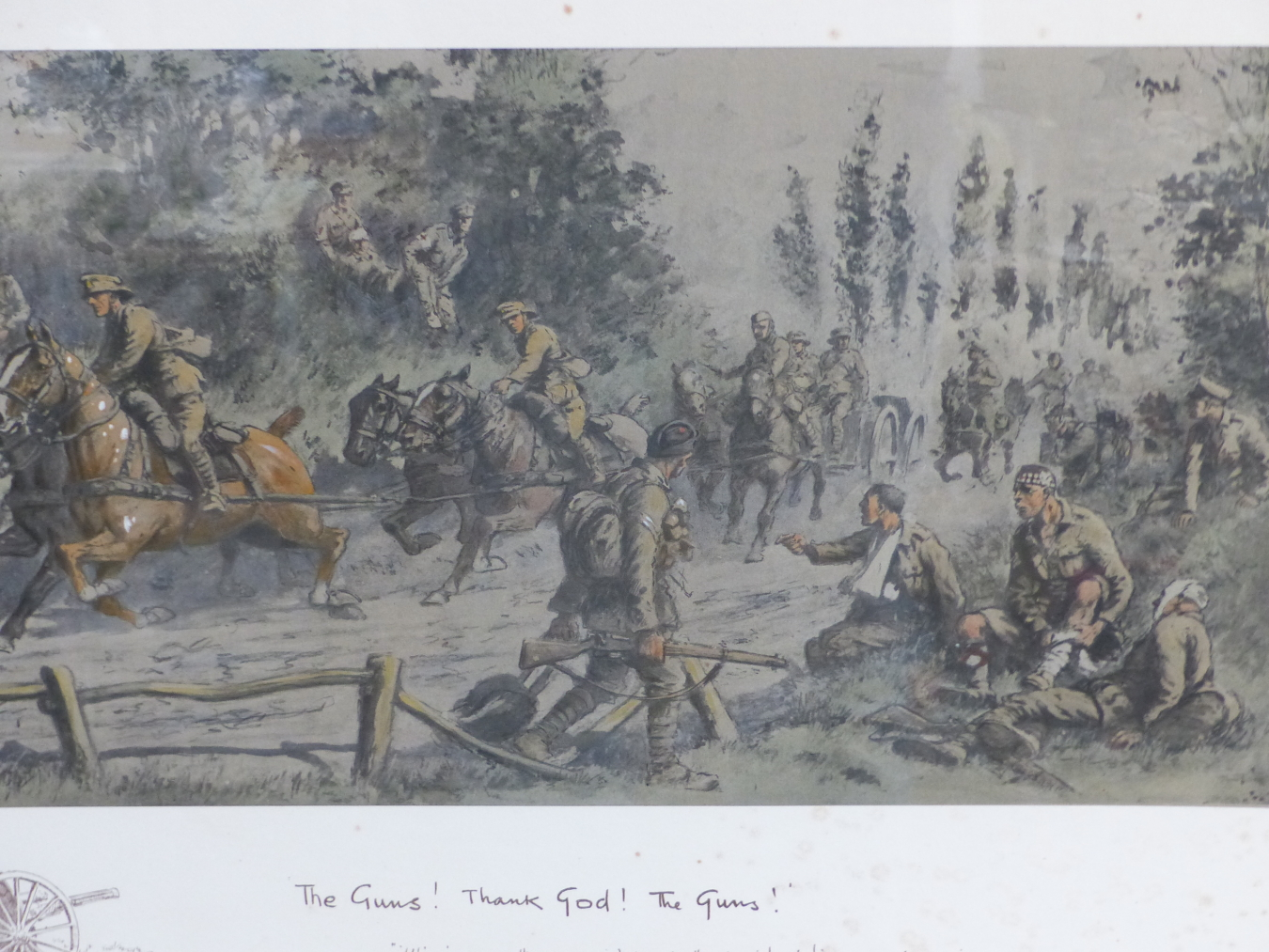 SNAFFLES, CHARLES JOHNSON PAYNE (1884-1967) THE GUNS, THANK GOD, THE GUNS!. COLOUR PRINT. 47 x