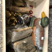 A CAST IRON DUCK DOORSTOP, VARIOUS DOOR FURNITURE, A FISHING REEL ETC.
