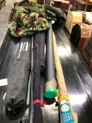VARIOUS FISHING RODS INC. SHAKESPEARE, GUIDE LINE, EDGAR SEALEY, AND OTHERS.