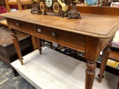 A VICTORIAN MAHOGANY TWO DRAWER SIDE TABLE.