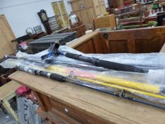 A QUANTITY OF VARIOUS FISHING RODS.