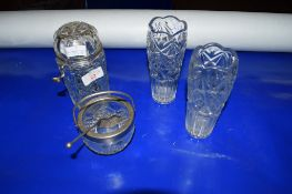 CUT GLASS WARES INCLUDING ONE WITH SILVER METAL MOUNTS