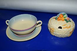CLARICE CLIFF MY GARDEN CIRCULAR BOX AND COVER, TOGETHER WITH CLARICE CLIFF SOUP BOWL AND STAND