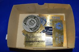 BOX CONTAINING VINTAGE CAR RALLY BADGES