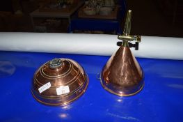 TWO COPPER CONTAINERS, ONE WITH BRASS TAP