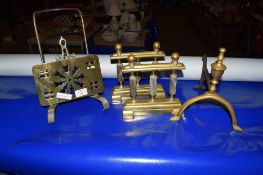 PAIR OF BRASS FIRE DOGS, FURTHER FIRE DOG AND LETTER RACK