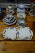 QUANTITY OF CHINA INCLUDING A SANDWICH SET BY WOODS AND A 19TH CENTURY FLOW BLUE TEA POT AND COVER