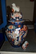 LARGE JAPANESE IMARI VASE WITH DOG OF FO FINIAL TO COVER AND TWO SMALL IMARI VASES