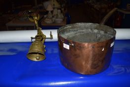 LARGE COPPER SAUCEPAN AND BRASS BELL