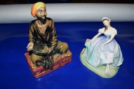 TWO ROYAL DOULTON FIGURINES, GISELLE HN2139 AND MENDICANT HN1365
