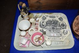 TRAY CONTAINING MISCELLANEOUS CHINA INCLUDING A VICTORIAN COMMEMORATIVE PLATE FOR VICTORIA'S