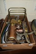 BOX CONTAINING VARIOUS METAL WARES, COPPER AND BRASS IMPLEMENTS AND SET OF SCALES