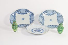 Group of Chinese ceramics including two lobed dishes and a small dish of blue and white design, plus