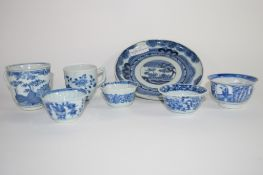 Quantity of Chinese blue and white ceramics including an 18th century Chinese coffee cup, plate, tea