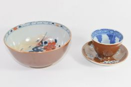 Batavia style Chinese porcelain bowl with Imari decoration to interior and a further tea bowl and