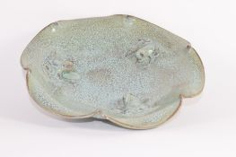 Chinese Song dynasty type quatralobe bowl decorated with three frogs, Chun Yao, in a Song type