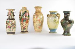 Group of five porcelain vases, three Chinese, a further Noritake vase with typical decoration and