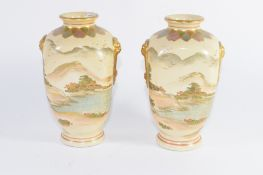 Pair of Japanese Meiji period Satsuma ware vases of quatrelobe shape, decorated in typical fashion