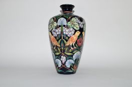 Moorcroft limited edition vase in the Strawberry Thief pattern by Rachel Bishop, number 38/75,