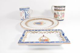 Group of porcelain wares including an 18th century Chinese export mug (a/f), three pieces of