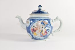 Chinese export porcelain tea pot, the blue ground with polychrome decoration of figures