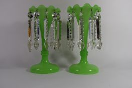 Pair of green ground table lustres, 27cm high (2)