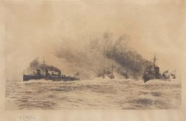 """William Lionel Wyllie, RA, RI, RE (1851-1931), """"Battleships"""", black and white etching, signed in"""
