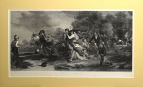"""After Thomas Webster, engraved by Henry Lemon, """"Football"""", black and white engraving, published by"""