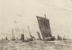 """William Lionel Wyllie, RA, RI, RE (1851-1931), """"Boulogne fishing luggers"""", black and white"""