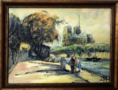 French School, (20th century), Notre Dame from the Seine, pen, ink and watercolour, indistinctly