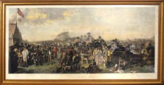 """After W P Frith, engraved by A Blanchard, """"The Derby Day"""", hand coloured engraving, published"""
