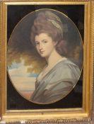 After J Reynolds, Portrait of a lady, antique coloured engraving, 64 x 50cm