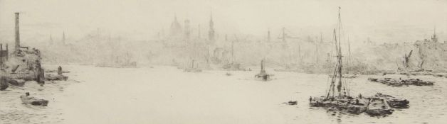 """William Lionel Wyllie, RA, RI, RE (1851-1931), """"London from Limehouse"""", black and white etching,"""
