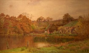 Cyril Ward, Lakeland scene with figures by a cottage, watercolour, signed and dated 1894 lower left,