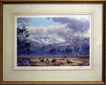 """John Cyril Harrison, """"Black Game below the Cairngorms"""", coloured print, signed and numbered 450 in"""