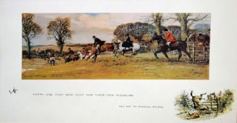 """After Snaffles, """"Great Banks there was below in the fields"""", modern coloured print numbered 411/"""