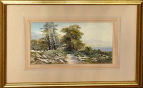 """Continental School (19th century), """"Les Bords du Lac Geneve"""", watercolour, 16 x 24cm"""