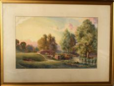 "A Kemp Tebby, ""Beeleigh Bridge, Essex"", watercolour, signed lower left, 27 x 47cm"