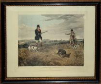 """After H Alken, engraved by C Bentley, """"Partridge shooting"""", set of four coloured engravings, 21 x"""