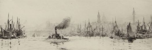 """William Lionel Wyllie, RA, RI, RE (1851-1931), """"Shipping on the Thames with the Monument and St"""